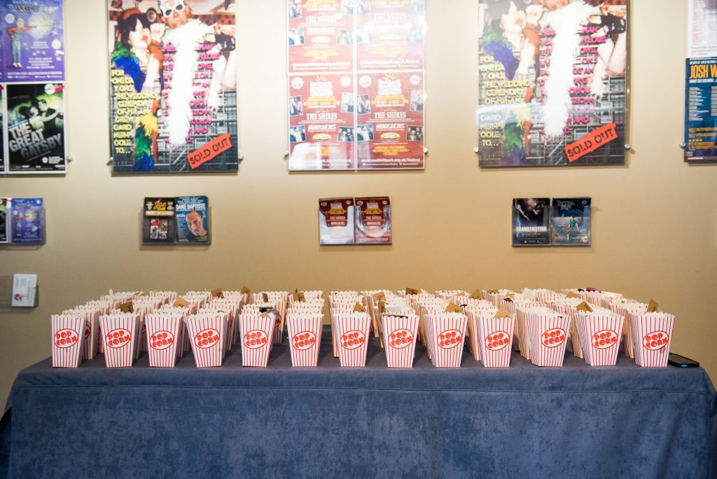 Mini popcorn bags for theatre wedding Berkshire
