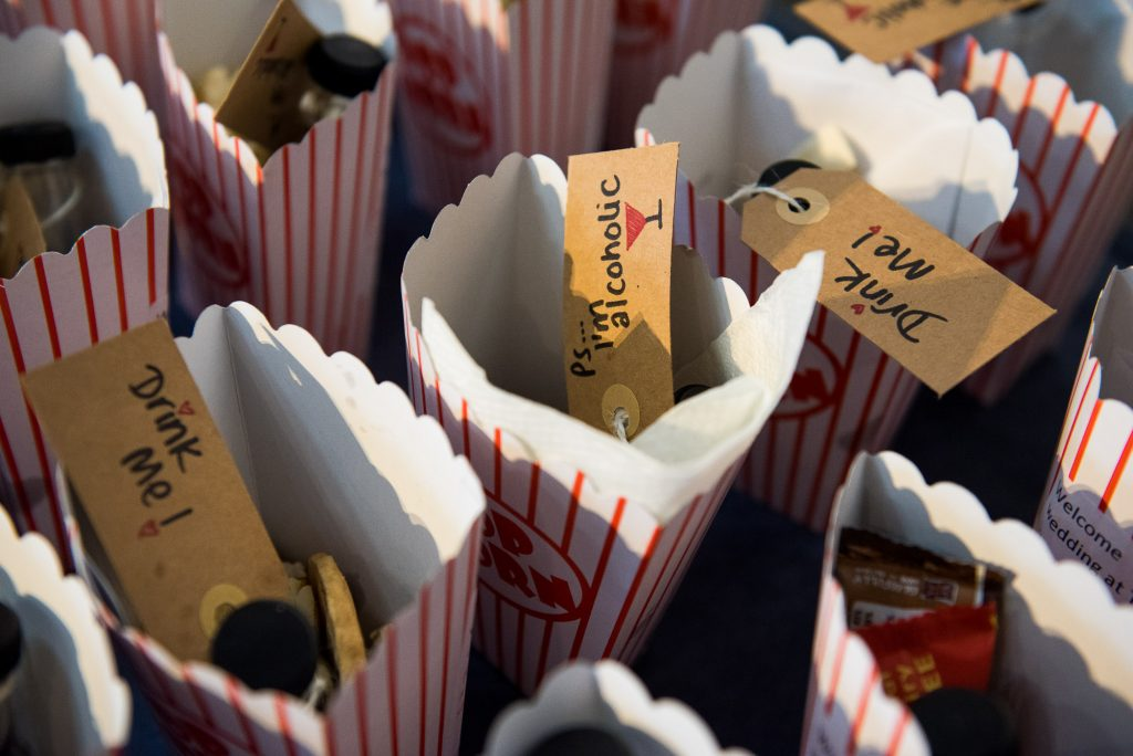Popcorn bags with drink inside fun theatre wedding Berkshire