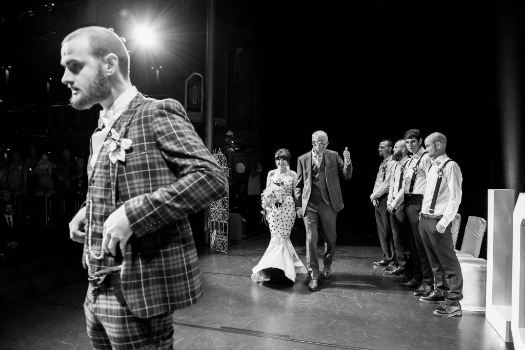 Creative theatre wedding photography Berkshire