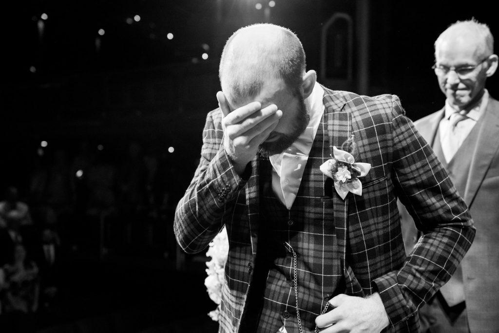 Creative groom wedding portrait Wilde Theatre Berkshire