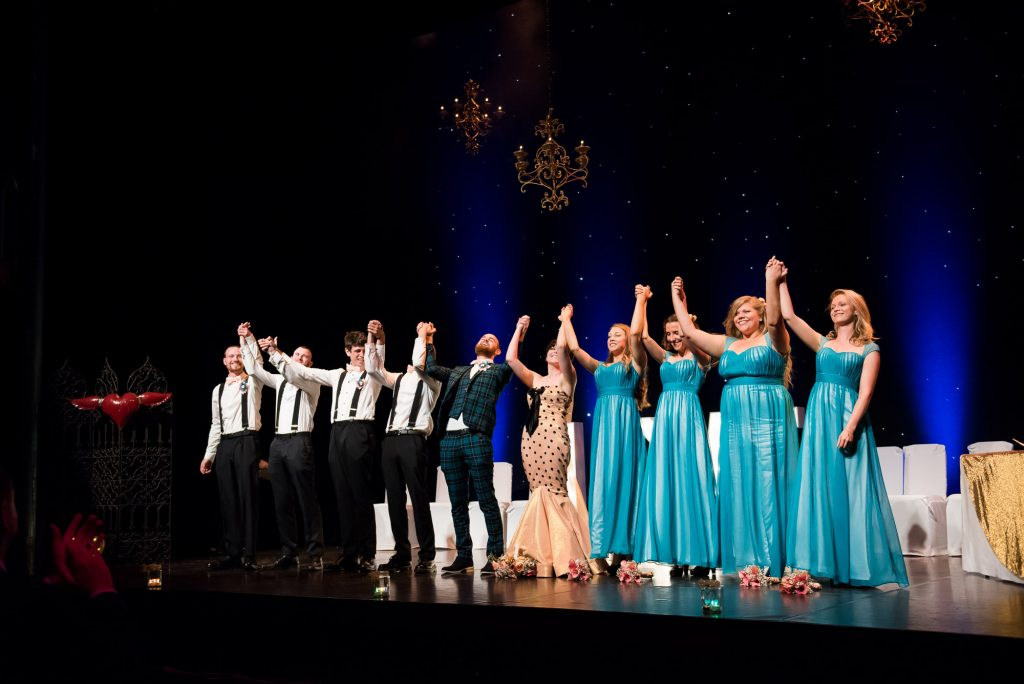 Wedding party take a bow after theatre wedding ceremony Berkshire