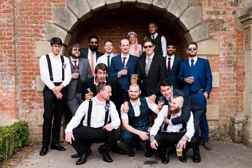 Punk inspired wedding - Groom with groomsmen group wedding portrait Berkshire