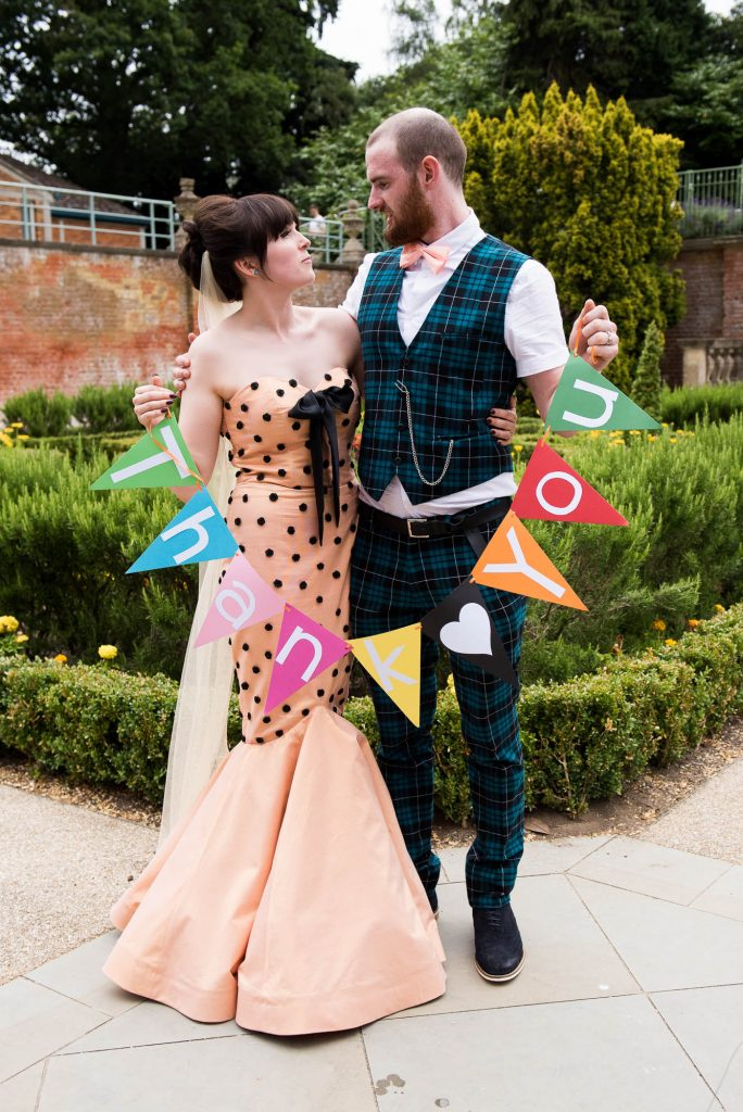 Whirling Turban bride with tartan groom theatre wedding Berkshire