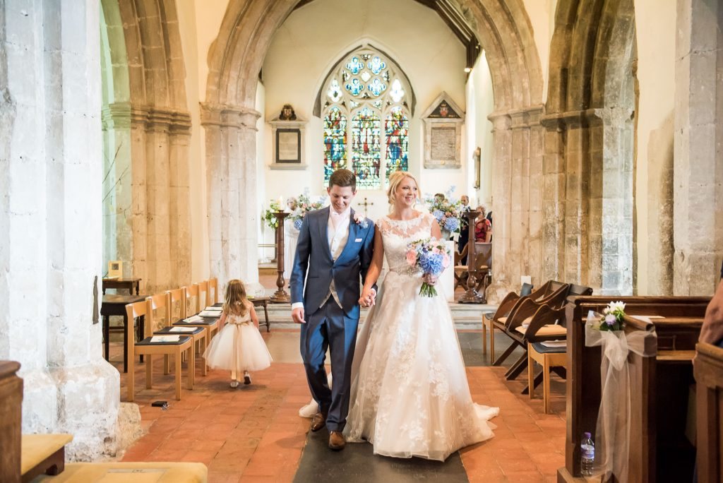 Elegant church wedding portrait