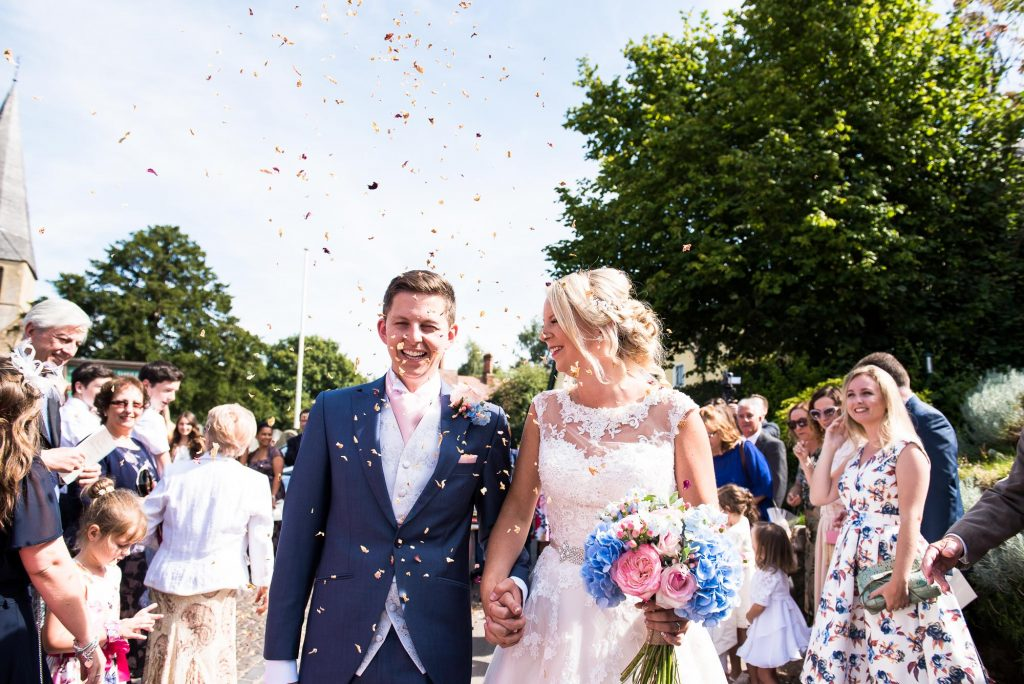 Colourful confetti wedding portrait