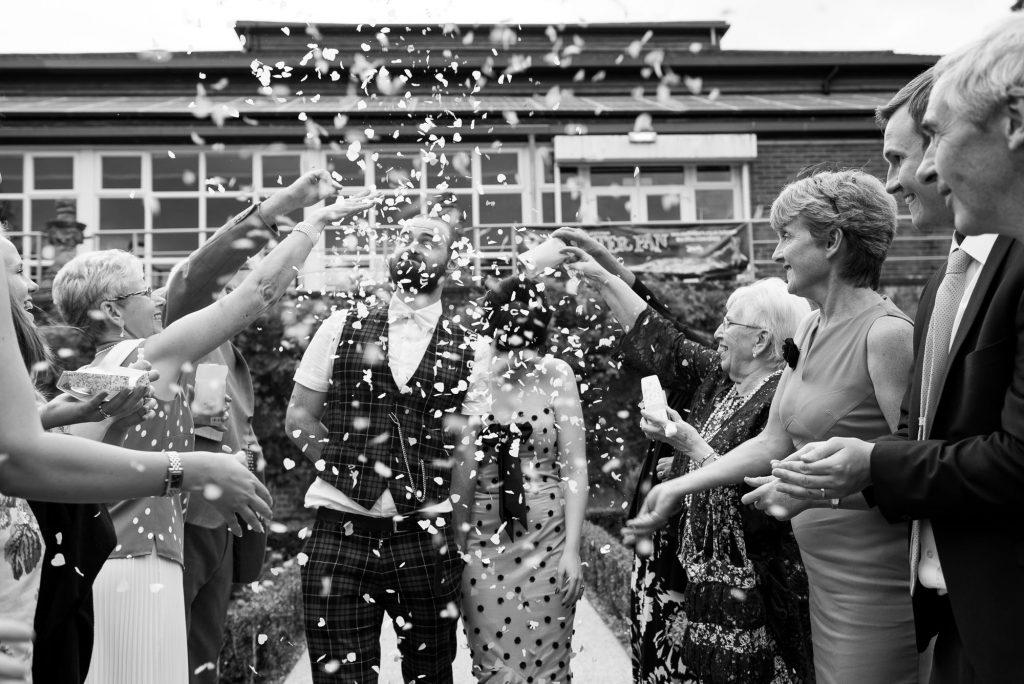 Punk inspired wedding - Confetti wedding portrait Berkshire