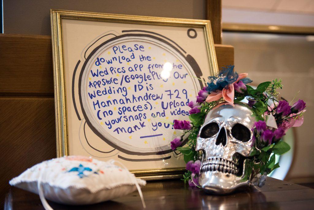 Wedding photo information sign theatre wedding Berkshire
