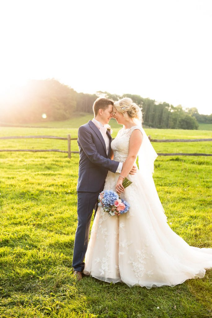 Intimate wedding portrait countryside barn wedding