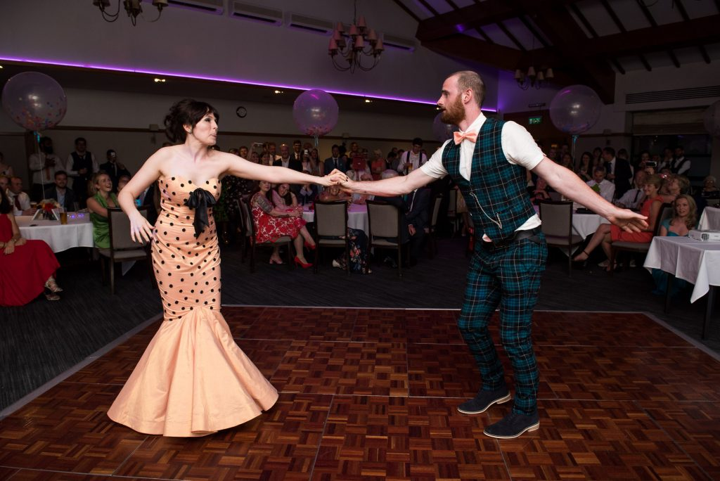 Punk inspired wedding - First dance for alternative bride wearing Whirling Turban with punk groom Berkshire