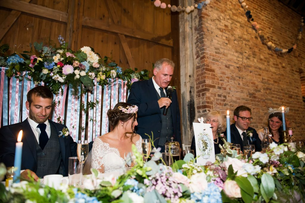 Father of bride delivers speech Norfolk Barn wedding floral decor by Flowers at The Forge