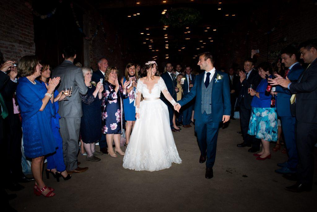First dance for Jay West Bride with groom wearing Calvin Klein Norfolk Barn wedding