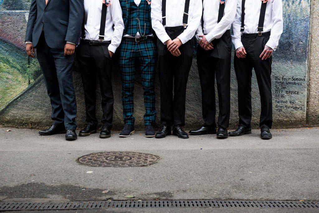 Punk inspired wedding - Groom with groomsmen pre wedding photography Berkshire