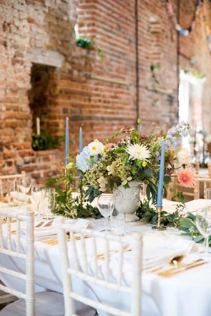 Elegant wedding table decor gold candlesticks Norfolk