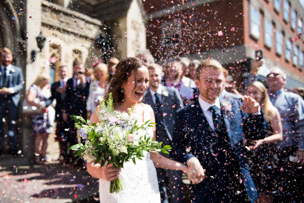 Creative confetti wedding portrait Surrey