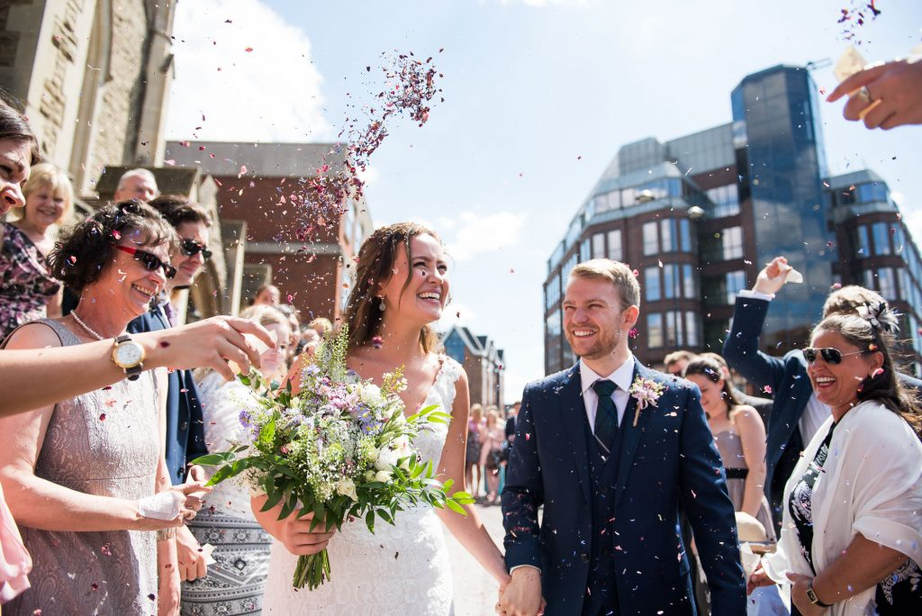 Energetic Confetti wedding portrait Surrey