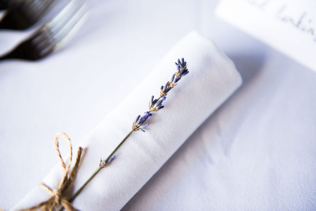 Dried lavender as a place setting Surrey barn wedding