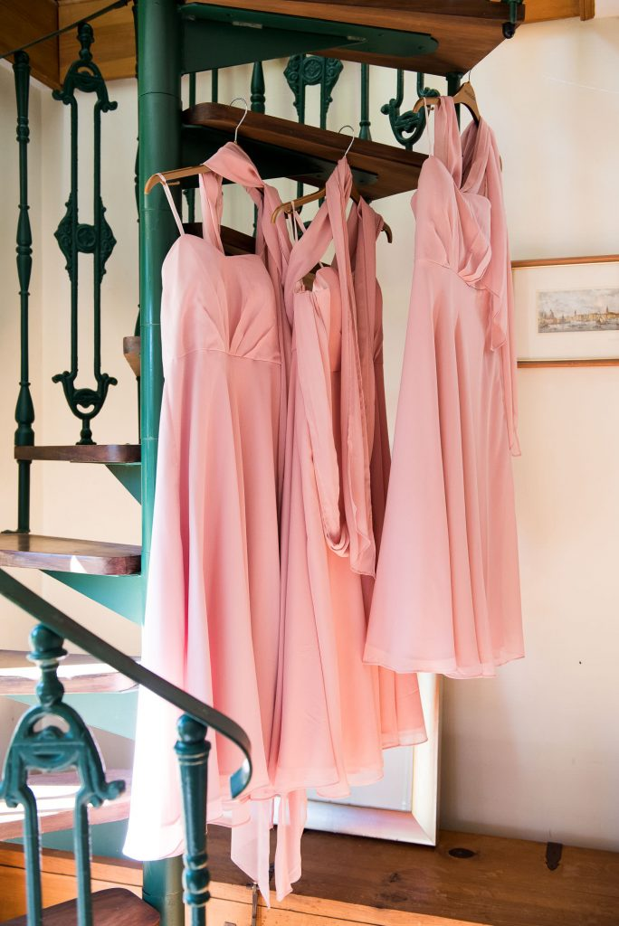 Hanging bridesmaids dresses Surrey barn wedding
