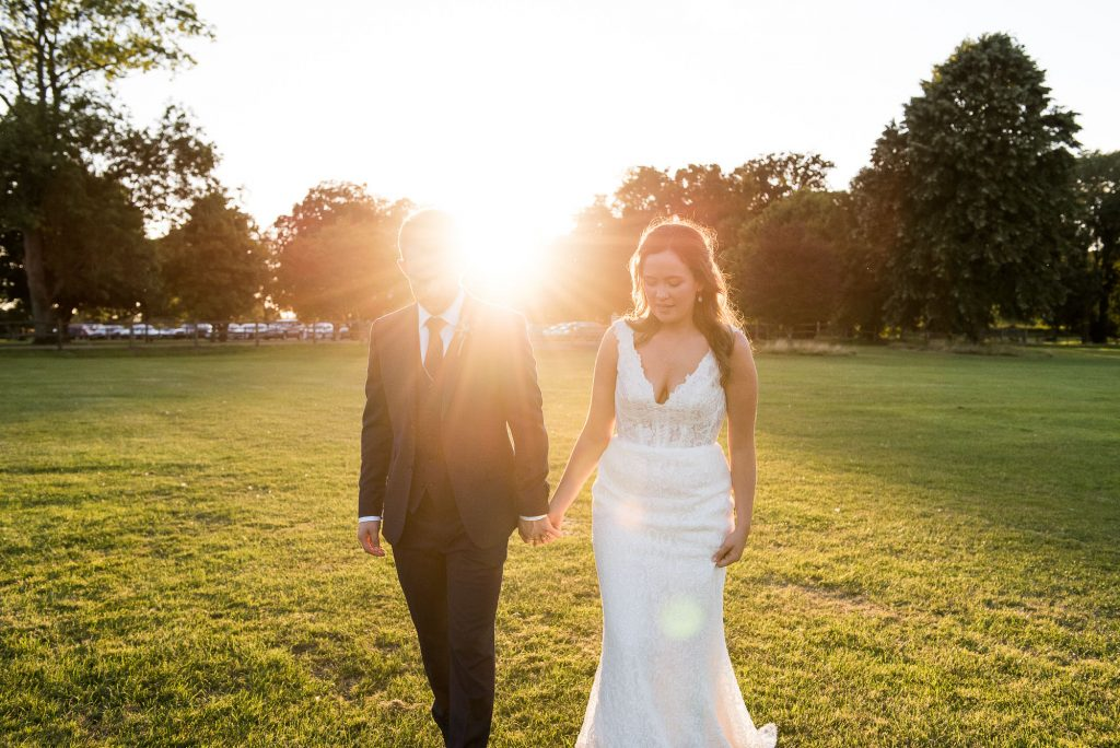 Golden hour wedding portrait Surrey