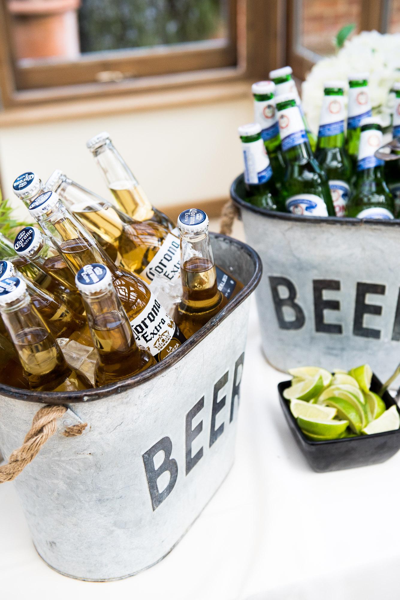 rustic beer wedding coolers