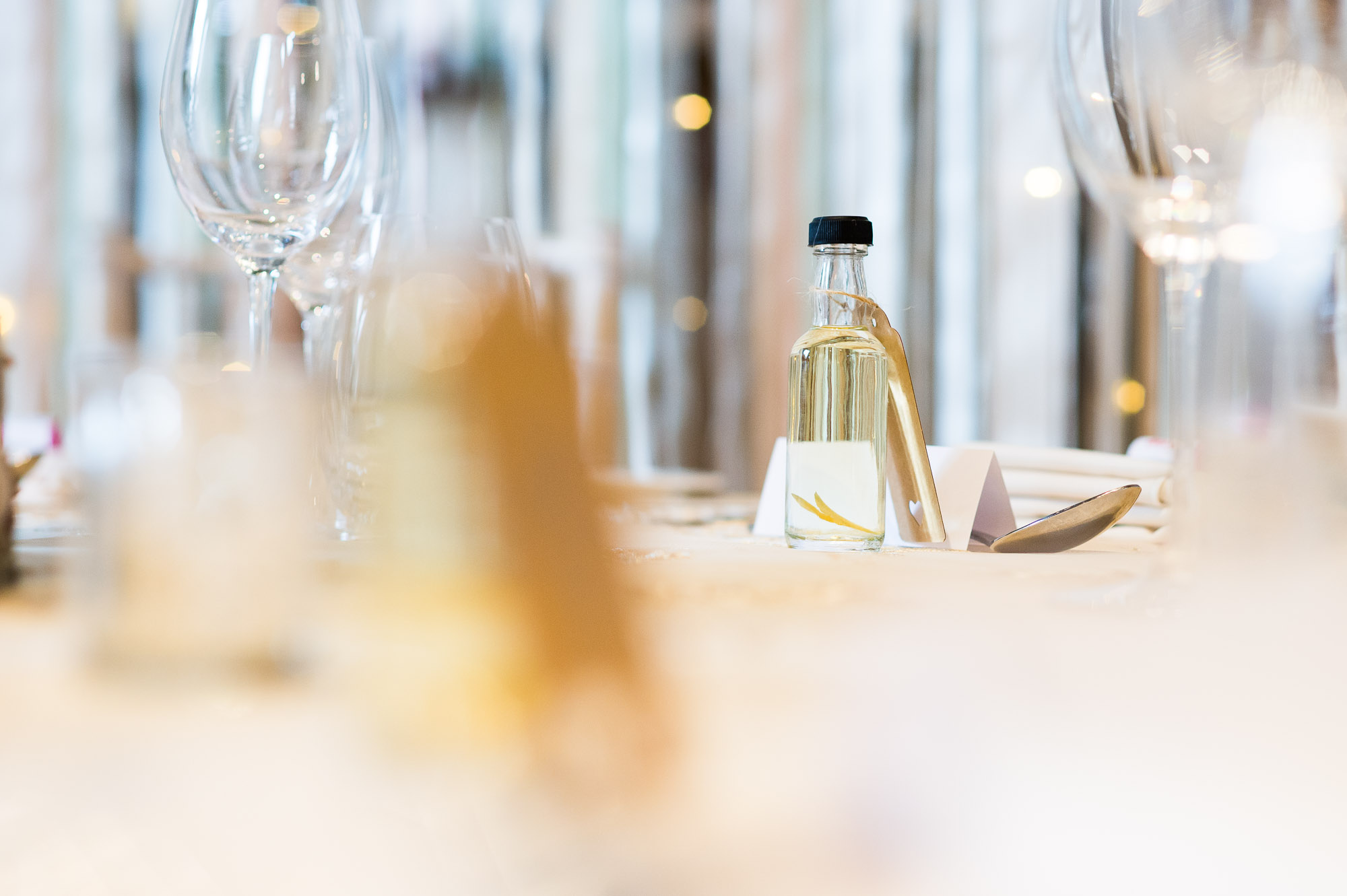 DIY wedding favour of infused vodka bottles