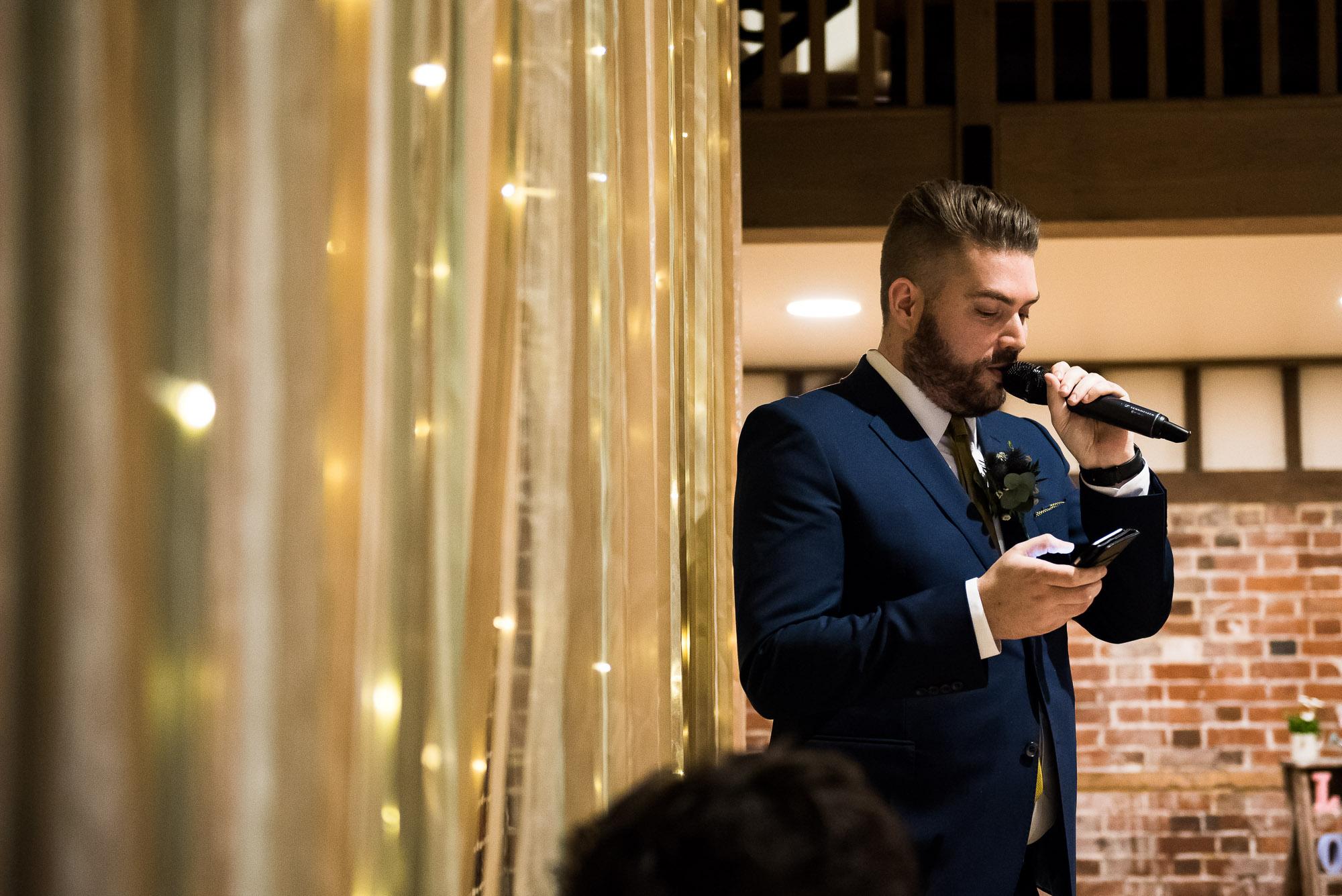 best man delivering speech Essex Barn Wedding