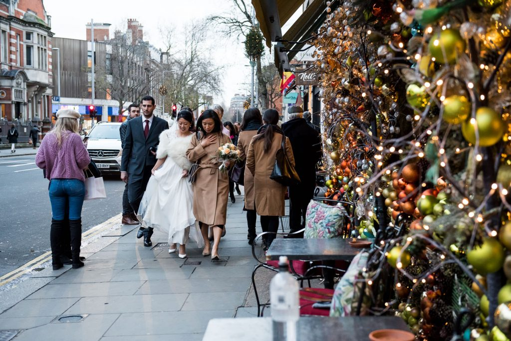Bride walks to reception London