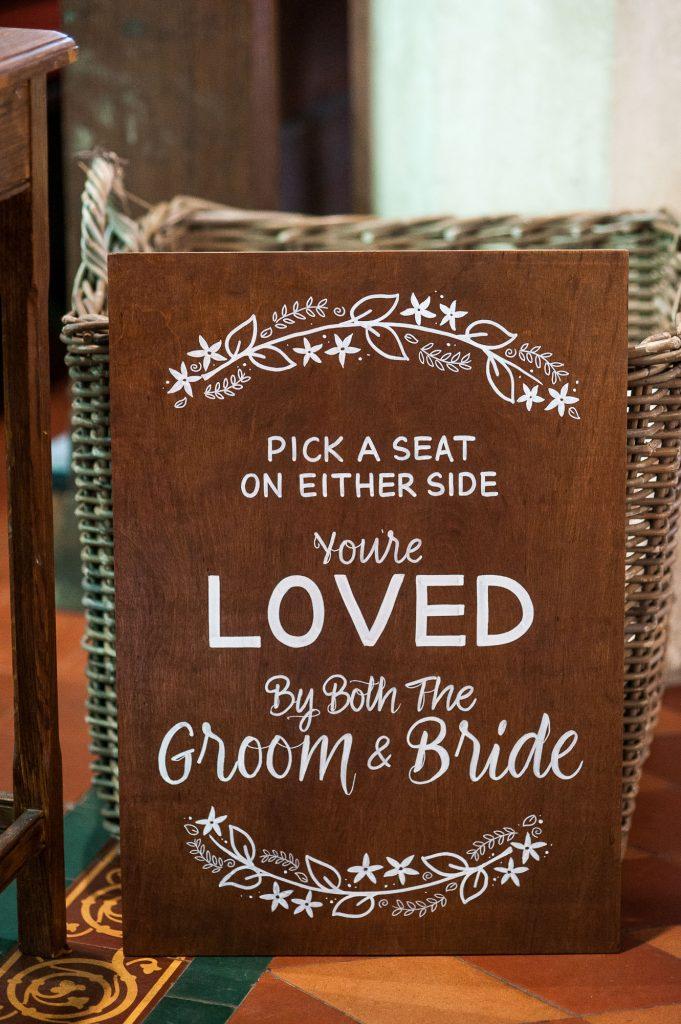 Ashridge House Wedding. Natural Wedding Photography. Personalised wedding sign for the church service.
