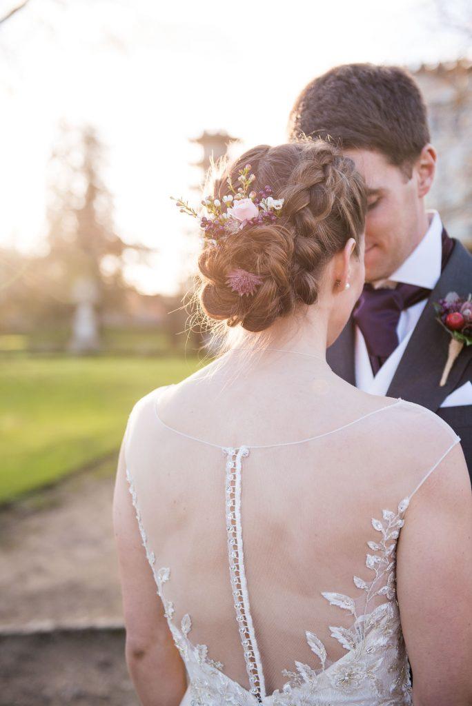 Ashridge House Wedding. Natural Wedding Photography. Gorgeous sheer lace back wedding dress from Berhamstead Brides.