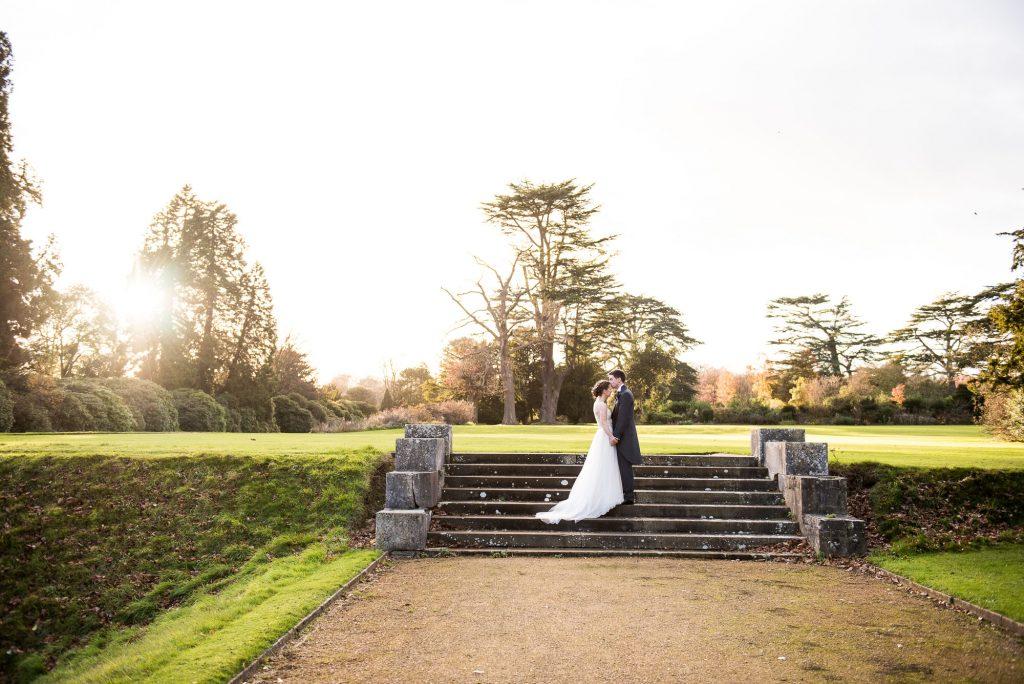 Ashridge House Wedding. Natural Wedding Photography. Bride and Groom evening light portrait.