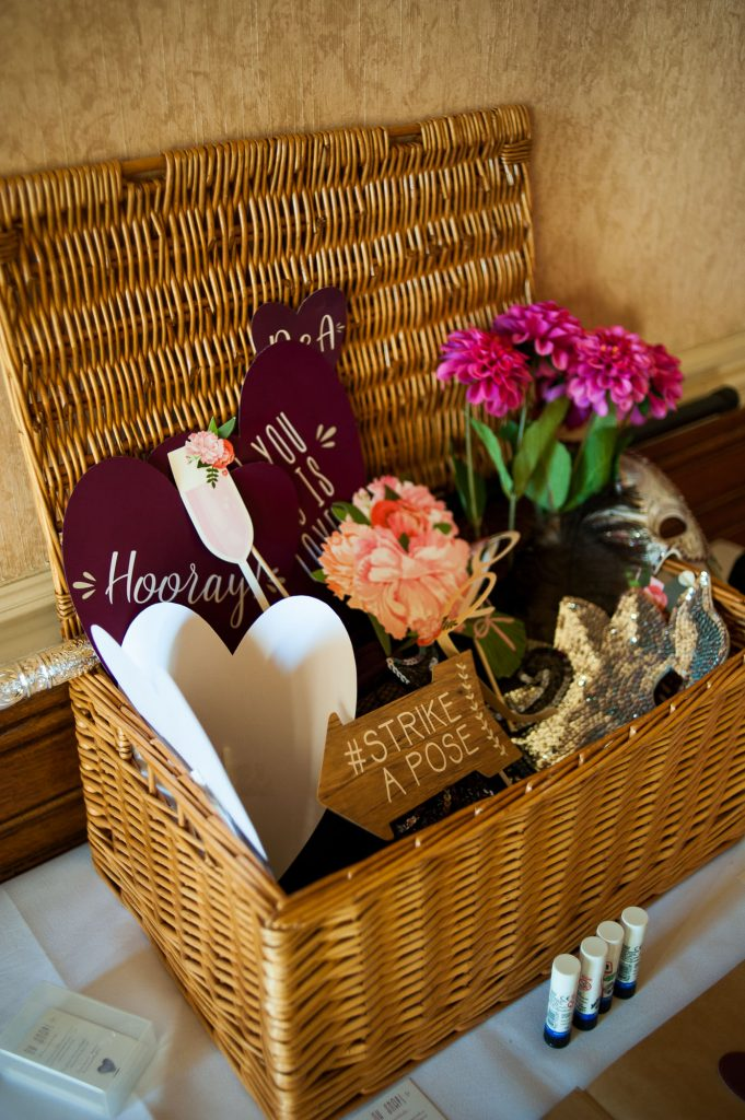 Ashridge House Wedding. Natural Wedding Photography. DIY photo booth props for winter wedding.