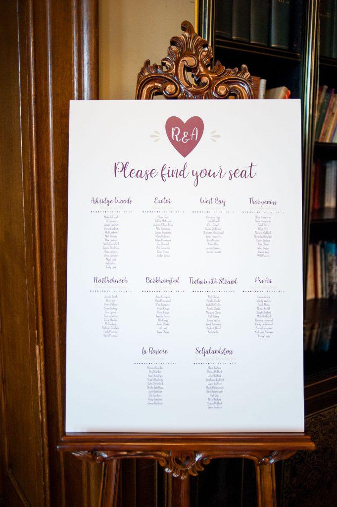 Ashridge House Wedding. Natural Wedding Photography. Table seating plan for winter wedding.