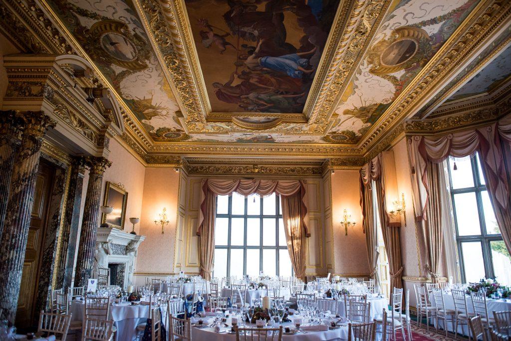 Ashridge House Wedding. Natural Wedding Photography. Grand hall for the wedding breakfast reception.