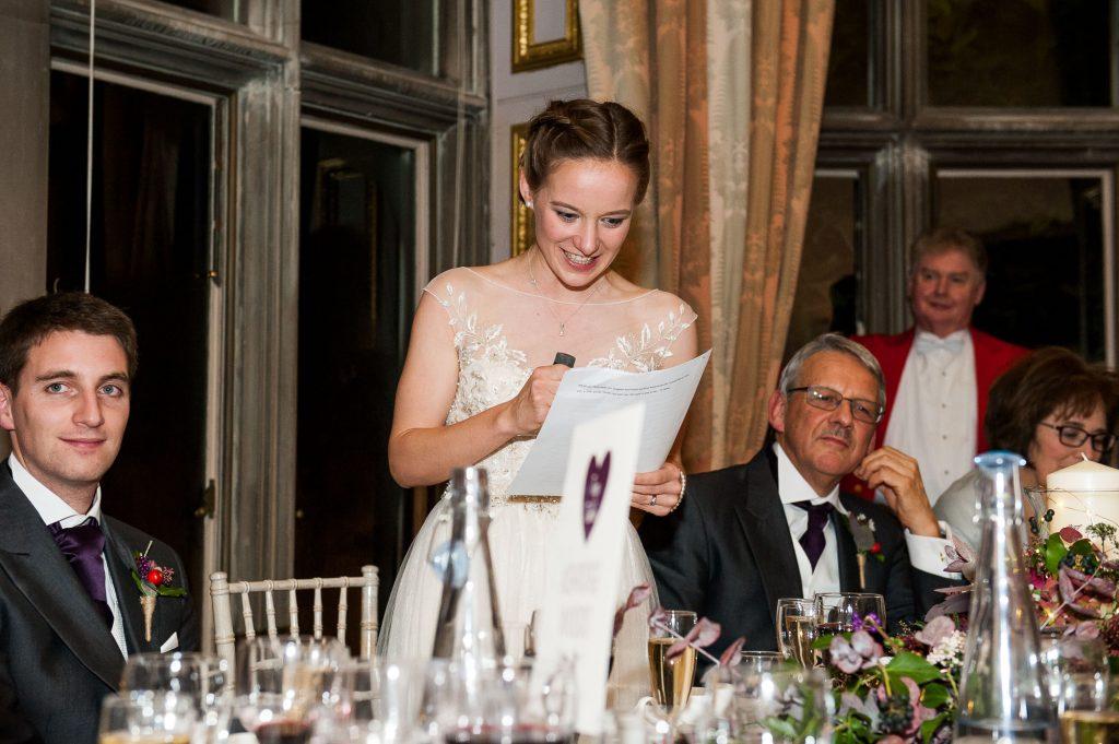 Ashridge House Wedding. Natural Wedding Photography. Bride gives an emotional wedding speech.