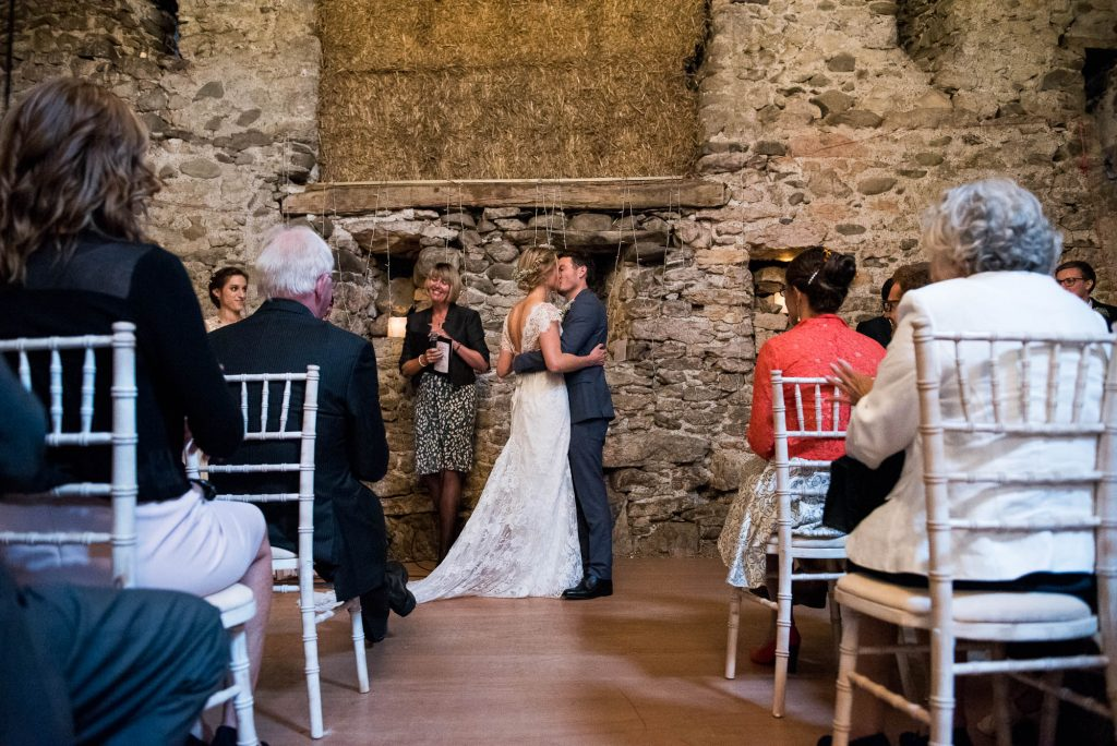 Park House Barn, Rustic Barn Wedding, First Kiss