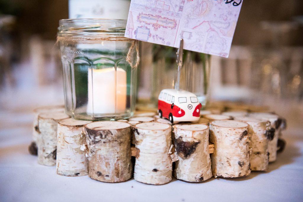 Park House Barn, Rustic Barn Wedding, Wedding Table Decor Rustic Wood and VW Camper Van Place Setting