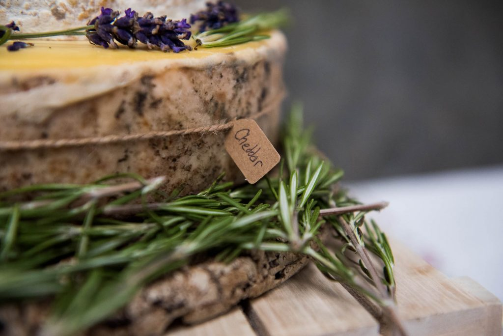 Park House Barn, Rustic Barn Wedding, Cheese Wheel Wedding Cake With Rosemary and Lavender Decoration