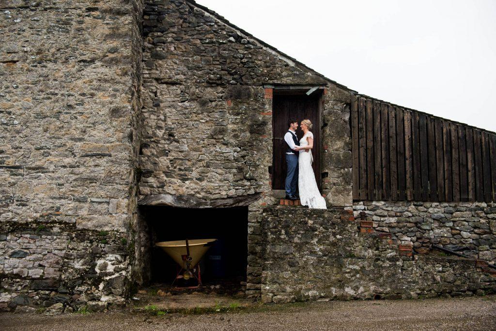 Park House Barn, Rustic Barn Wedding, Anna Campbell Bride with Groom in Rustic Barn Portraits