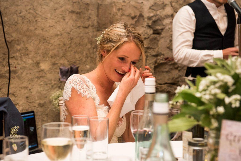 Park House Barn, Rustic Barn Wedding, Anna Campbell Bride Tears Up During Speeches