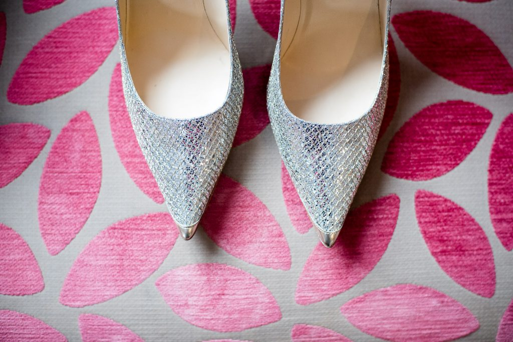 Great Fosters. Natural Surrey Wedding Photography. Bridal Jimmy Choo Shoes.