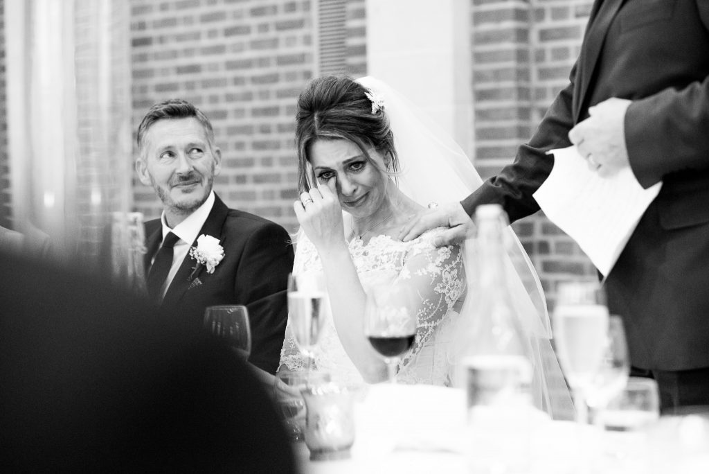 Great Fosters. Natural Documentary Wedding Photography, Surrey. Emotional Reactions to Speeches.