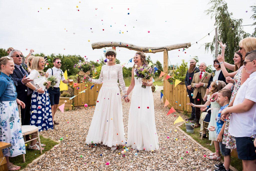 Wedding Confetti, Fun Documentary Wedding Photography Surrey, Alternative Wedding Confetti Ideas with Pom Poms