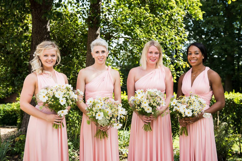 Eco Friendly Wedding, Bridesmaids in Pale Pink Dresses with Wild Flower Bouquets by Bare Blooms, Wedding Advice