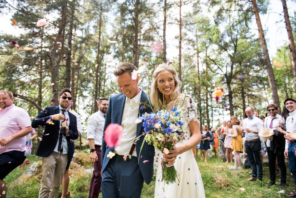 Wedding Confetti, Fun Documentary Wedding Photography Surrey, Alternative Wedding Confetti Ideas Natural Rose Petal Confetti