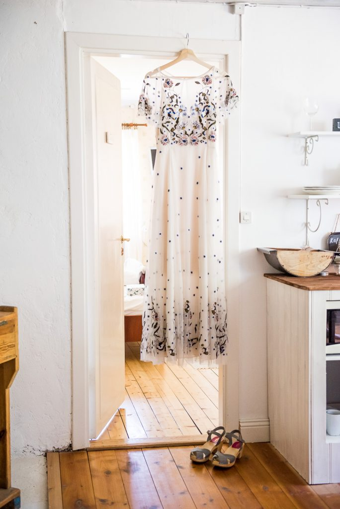 Destination Wedding Photography Sweden - Scandinavian embroidered floral wedding dress
