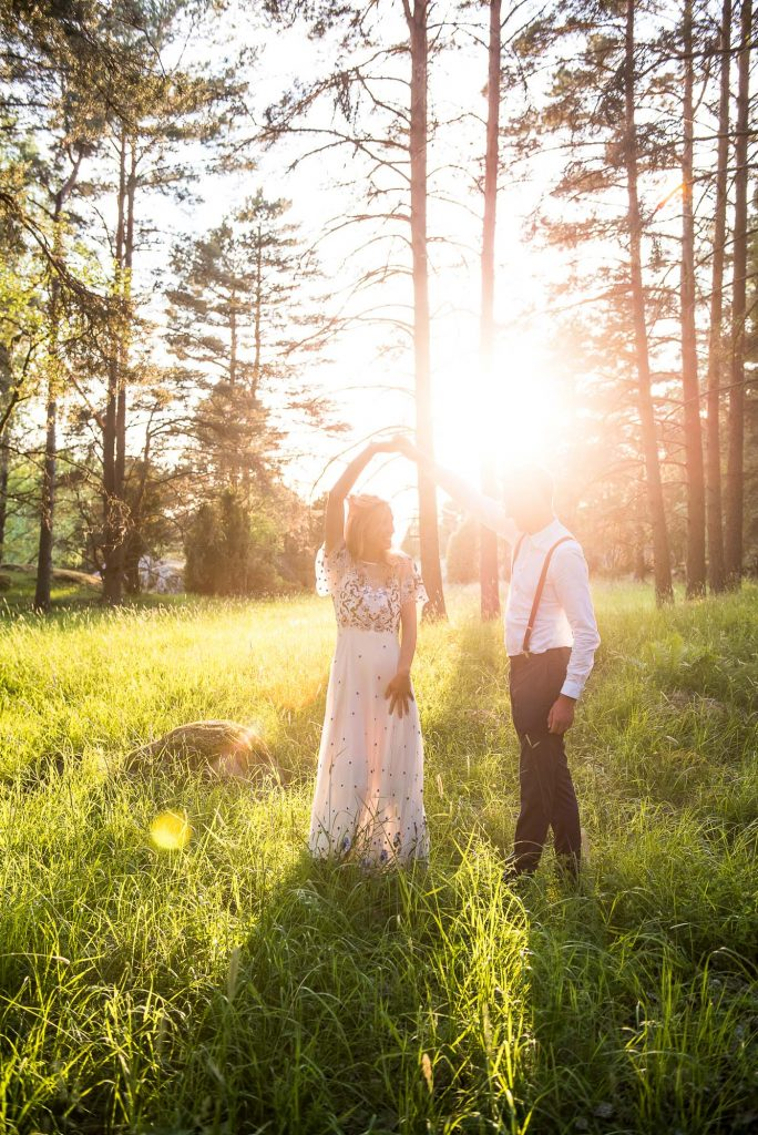 Destination Wedding Photography Sweden - Woodland Wedding Couples Portraits at Sunset Dancing in The Woods