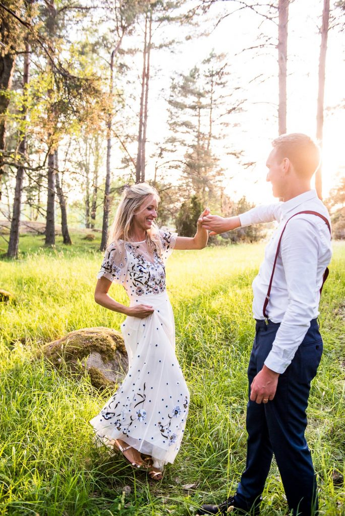 Swedish Wedding - Kroksta Gard Wedding - Woodland Wedding Couples Portraits at Sunset Dancing in The Woods