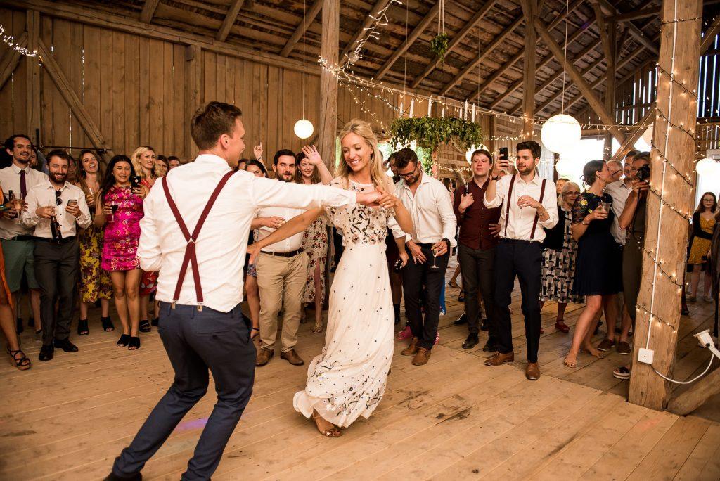 Swedish Wedding - Kroksta Gard Wedding - Couple Enjoy Their First Dance