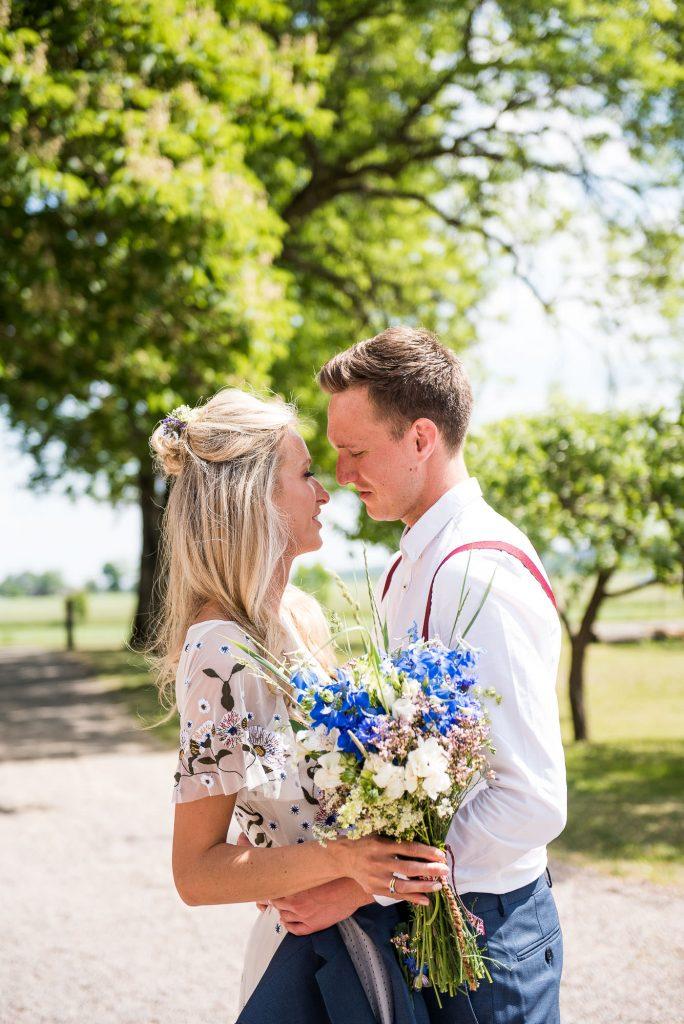 Swedish Wedding - Kroksta Gard Wedding - First Look Romantic Reaction