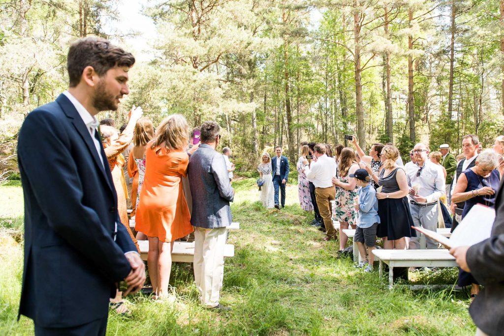 Swedish Wedding - Kroksta Gard Wedding - Bride and Groom Walking Down the Aisle