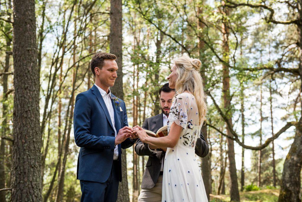 Swedish Wedding - Kroksta Gard Wedding - Gorgeous Boho Bride in Woodland Wedding Ceremony